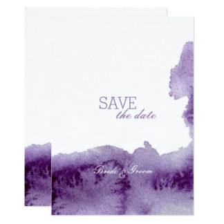 Ultra Violet Watercolor Wedding SAVE the Date Card