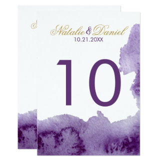 Ultra Violet Watercolor Wedding Table Number