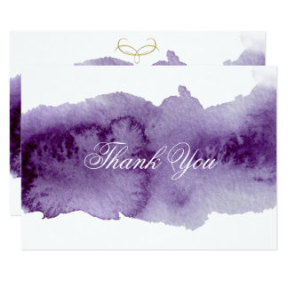 Ultra Violet Watercolor Wedding Thank You Card
