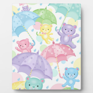Umbrella Baby Bears Easel Display Plaque
