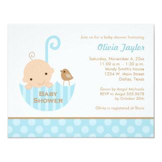 Umbrella Baby Boy Blue Shower Invitations