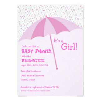 Umbrella Baby Shower Pink Invitation