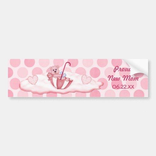 Umbrella Teddy Bear - New Mom of Girl - Customize Bumper Stickers