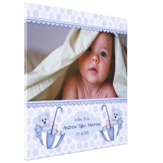 Umbrella Teddy Bear Polka Baby Canvas Print