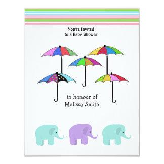 Umbrellas and Elephants Baby Shower Invitation
