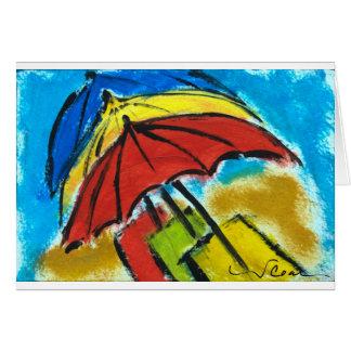 Umbrellas -- La vie est une plage. Greeting Card