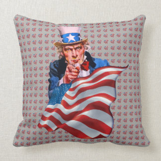 Uncle Sam and American flag Cushion