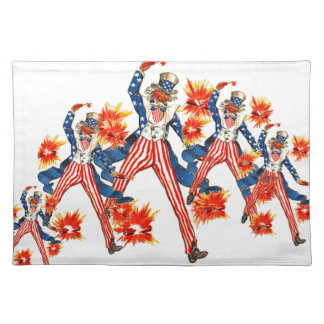 Uncle Sam Sparklers 4th of July Fireworks Fabric Placemat