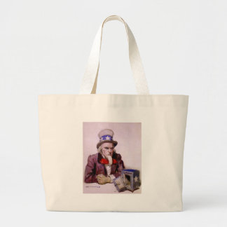 Uncle Sam With An  Empty Treasury Large Tote Bag