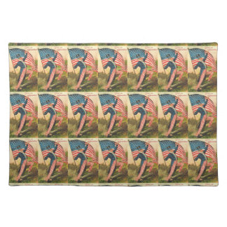 Uncle Sam with Flag Vintage Print Cloth Placemat