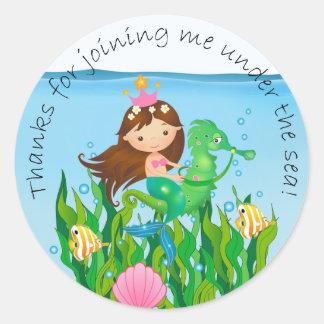 Under the Sea Mermaid Birthday Thank You Classic Round Sticker