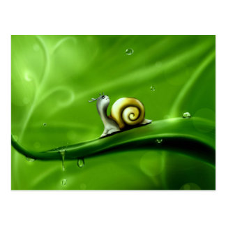 UNDER THE WEATHER (cute snail) ! Postcard