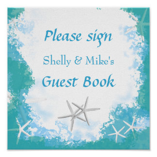 Undersea Stars Wedding Table Guest Book Sign