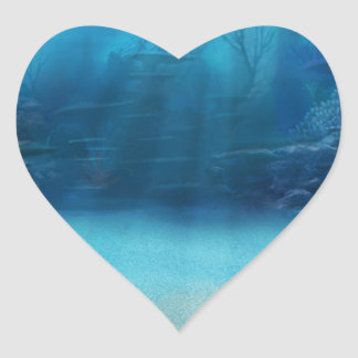 Underwater Coral Reef Towers Heart Sticker
