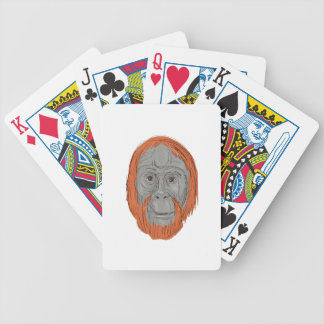 Unflanged Male Orangutan Drawing Bicycle Playing Cards