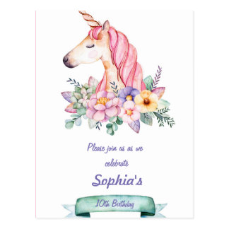 Unicorn and Flowers Children Birthday Invitation Postcard