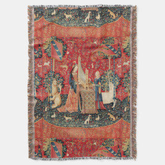 UNICORN AND LADY PLAYING ORGAN WITH ANIMALS THROW BLANKET