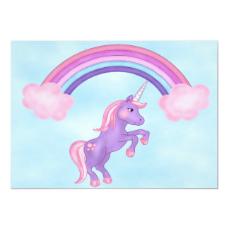 Unicorn and Rainbow Birthday Invitation