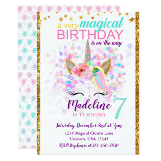 Unicorn Birthday Invitation Magical Celebration