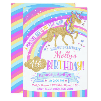 Unicorn Birthday Invitation Rainbow Invite