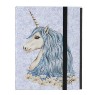 Unicorn Blue Hair iPad Folio Case
