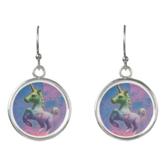 Unicorn Drop Dangly Earrings (Cupcake Pink)