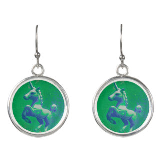 Unicorn Drop Dangly Earrings (Glowing Emerald)