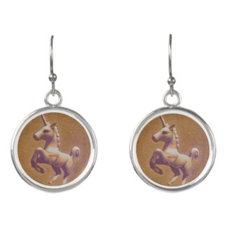 Unicorn Drop Dangly Earrings (Metal Lavender)
