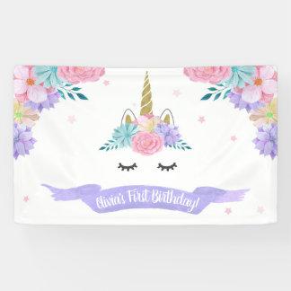 Unicorn Face Birthday Banner Backdrop