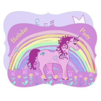 Unicorn Green, Purple irthday Invitations