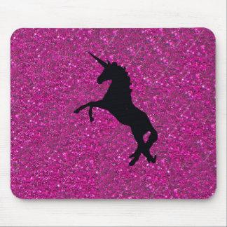 unicorn on pink glitter mouse pad