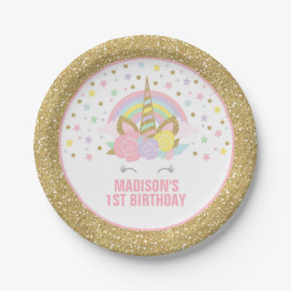 "Unicorn Pink And Gold Paper Plate 7"" Paper Plates 7 Inch Paper Plate"