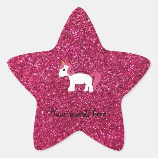 Unicorn pink glitter star sticker