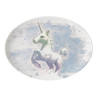 Unicorn Platter Coupe Porcelain (Moon Dreams) Porcelain Serving Platter