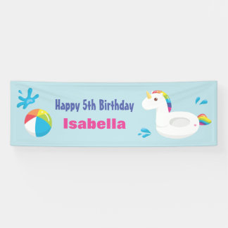 Unicorn Pool Float Summer Birthday Party Banner