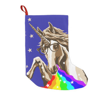 Unicorn pukes rainbow small christmas stocking