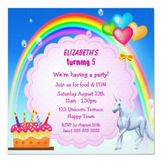 Unicorn, Rainbow & Cake Cute Birthday Party Invite 5.25
