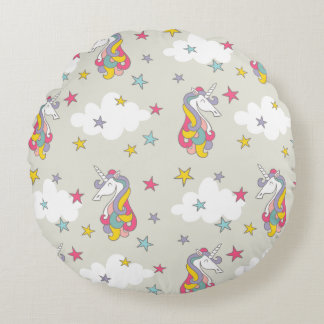Unicorn Rainbows Clouds and Colorful Stars Round Cushion