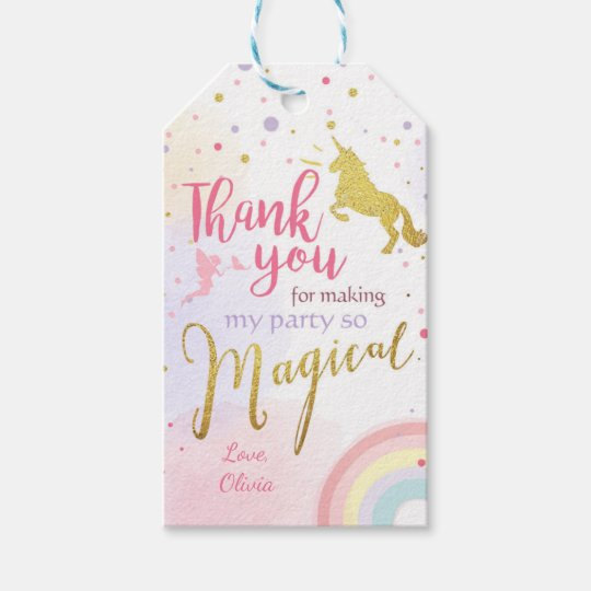 Unicorn Thank You Tags Unicorn Magical Birthday Zazzle Co Nz