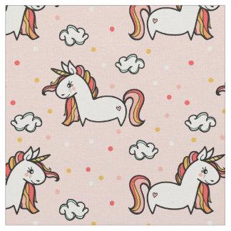 Unicorns & Confetti Blush Pink Pattern Fabric
