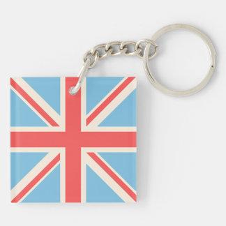 Union Flag/Jack Design Cream, Light Blue & Red Key Ring