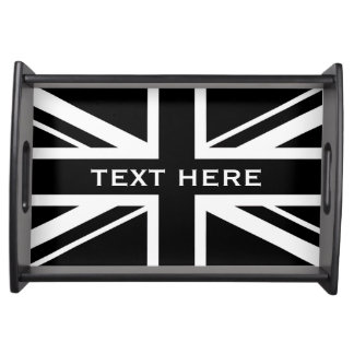 Union Jack ~ Black and White Serving Tray
