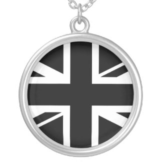 Union Jack ~ Black and White Silver Plated Necklace