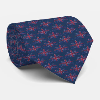Union Jack British Coat of Arms Navy Blue Tie