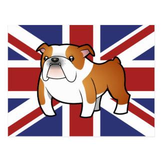 Union Jack Cartoon English Bulldog Postcard