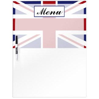 Union Jack Flag British Wedding Menu Dry Erase Board