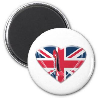 Union Jack Heart and Corkscrew Stiletto Shoe Refrigerator Magnets