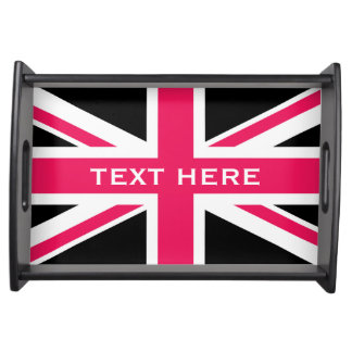 Union Jack ~ Hot Pink Black and White Serving Tray