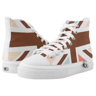 Union Jack UK United Kingdom In Brown Printed Shoes