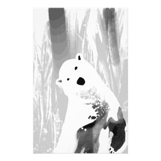 Unique Black and White Polar Bear Design Stationery